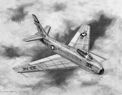 Drawing - North American Fj-4b Fury by Douglas Castleman