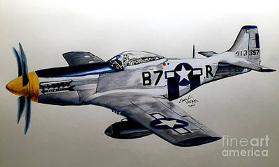 Freedom Fighter Drawing - North American P-51 Mustang by Chris Volpe