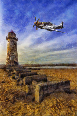 Navigation Digital Art - North American P-51 Mustang by Ian Mitchell