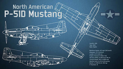 Fighter Digital Art - North American P-51d Mustang Blueprint by Jose Elias - Sofia Pereira