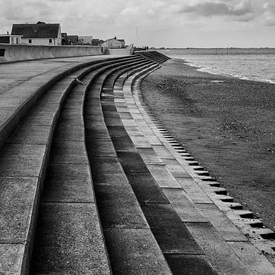 Monochrome Photograph - North Beach, Heacham, Norfolk, England by John Edwards