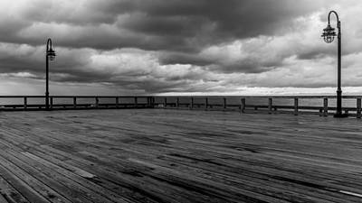 Chesapeake Bay Photograph - North Beach Pier With Clouds by Joseph Smith