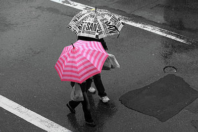 Photograph - Pink Umbrella, North Beach, San Francisco by Aidan Moran