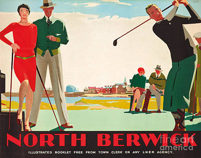 Man Cave Painting - North Berwick, A London And North Eastern Railway Vintage Advertising Poster by Andrew Johnson