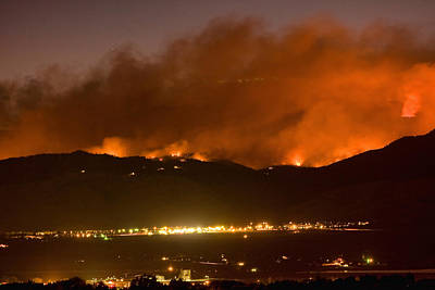 Photograph - North Boulder Colorado Fire Above In The Hills by James BO  Insogna