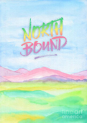 North Bound Pink Purple Mountains Watercolor Painting Art Print by Beverly Claire Kaiya