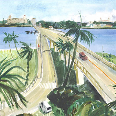 Painting - North Bridge To Palm Beach by Thomas Tribby