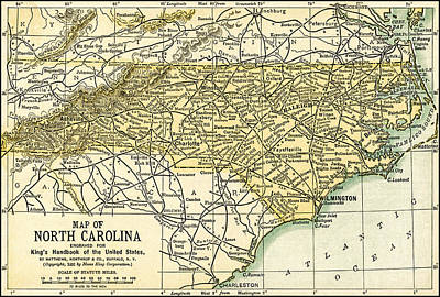 Photograph - North Carolina Antique Map 1891 by Phil Cardamone