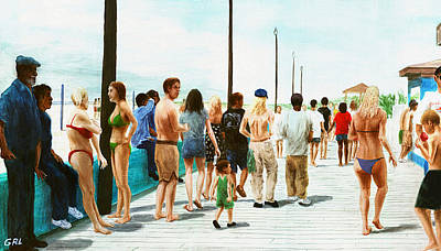 Painting - North Carolina Atlantic Beach Boardwalk Digital Art by G Linsenmayer