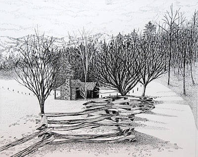 Split Rail Fence Drawing - North Carolina Cabin by Carolyn Koup