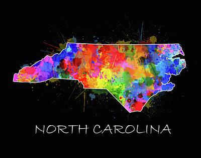 Panther Digital Art - North Carolina Color Splatter 2 by Bekim Art