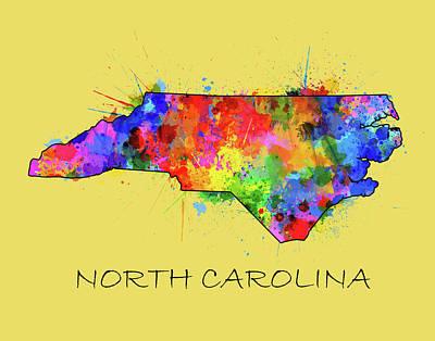 Panther Digital Art - North Carolina Color Splatter 4 by Bekim Art