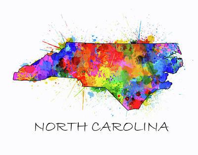 Panther Digital Art - North Carolina Color Splatter  by Bekim Art