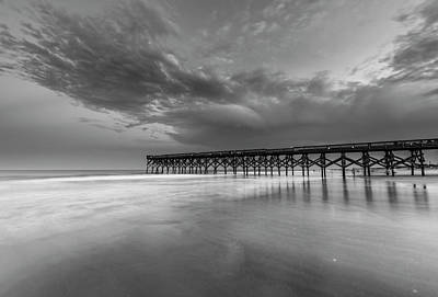 Photograph - North Carolina Crystal Pier On Atlantic Ocean Black White by Ranjay Mitra