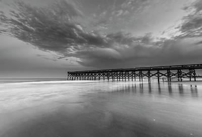 Photograph - North Carolina Crystal Pier On Atlantic Ocean Black White by Ranjay Mitra
