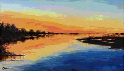 Painting - North Carolina Emerald Isle Sunrise Original Digital Art by G Linsenmayer