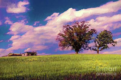 Digital Art - North Carolina Farm On A Grassy Hill Ap by Dan Carmichael