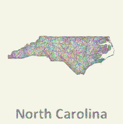 North Carolina Line Art Map Art Print