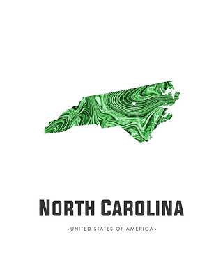 Mixed Media - North Carolina Map Art Abstract In Green by Studio Grafiikka