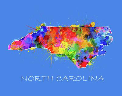 Panther Digital Art - North Carolina Map Color Splatter 3 by Bekim Art