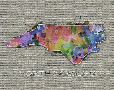 Panther Digital Art - North Carolina Map Color Splatter 5 by Bekim Art