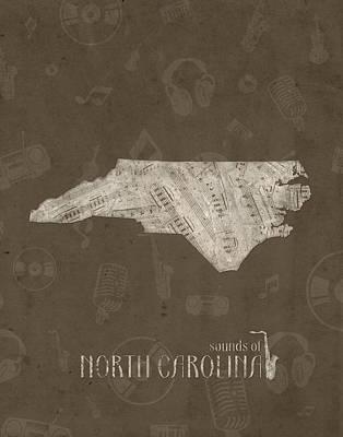 Charlotte Digital Art - North Carolina Map Music Notes 3 by Bekim Art