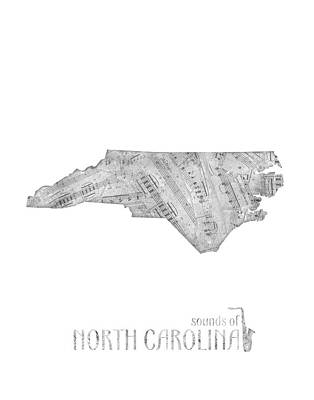 Panther Digital Art - North Carolina Map Music Notes by Bekim Art