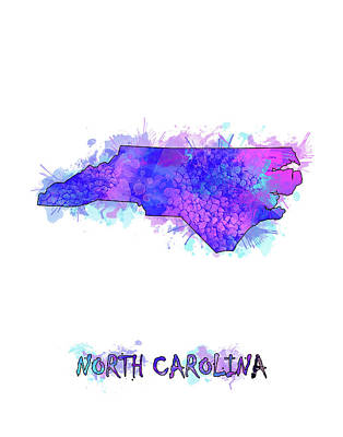 Panther Digital Art - North Carolina Map Watercolor 2 by Bekim Art