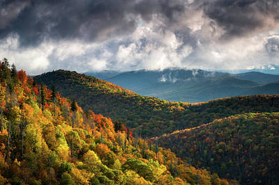 Asheville Wall Art - Photograph - North Carolina Mountains Asheville Nc Autumn Sunrise by Dave Allen
