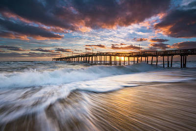 Photograph - North Carolina Outer Banks Seascape Nags Head Pier Obx Nc by Dave Allen