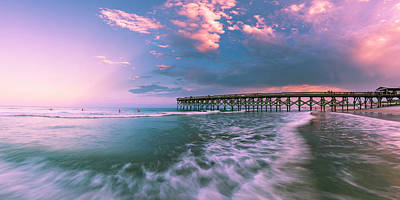 Photograph - North Carolina Pier With Rain Clouds At Sunset Panorama by Ranjay Mitra