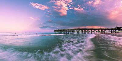 Photograph - North Carolina Pier With Rain Clouds At Sunset Panorama by Ranjay Mitra