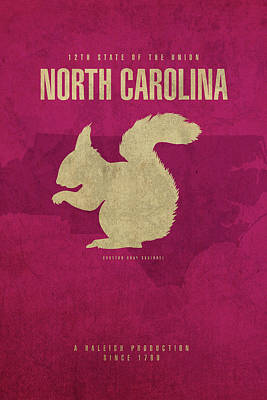 Squirrel Mixed Media - North Carolina State Facts Minimalist Movie Poster Art by Design Turnpike