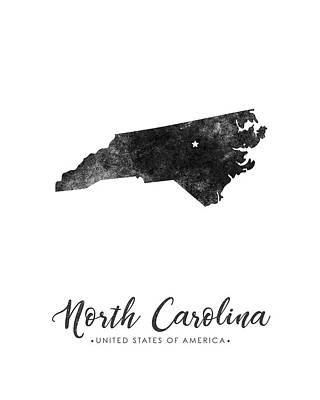 North Carolina State Map Art - Grunge Silhouette Art Print