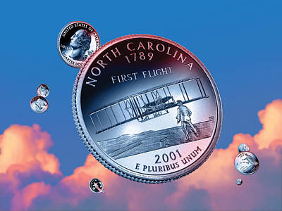 Philadelphia Flyers Digital Art - North Carolina State Quarter - Sky Coin 12 by Garrett Burke
