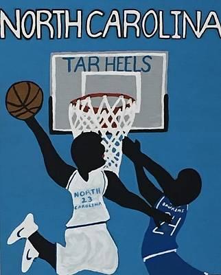 North Carolina Tar Heels Michael Jordan Throwing Down Versus Rivalry Duke Blue Devils Johnny Dawkins Original by Jonathon Hansen