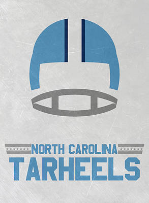Ncaa Mixed Media - North Carolina Tar Heels Vintage Football Art by Joe Hamilton