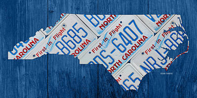 North Carolina Vintage Recycled License Plate Map On Blue Wood Plank Background Art Print by Design Turnpike