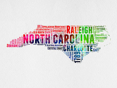 Crystals Mixed Media - North Carolina Watercolor Word Cloud Map by Naxart Studio
