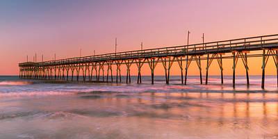 Photograph - North Carolinas Fishing Pier Sunset Panorama by Ranjay Mitra