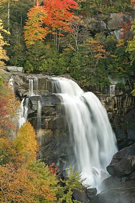 North Carolina's White Water Falls In Autumn Art Print