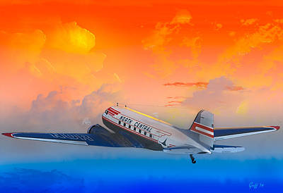 Digital Art - North Central Dc-3 At Sunrise by J Griff Griffin