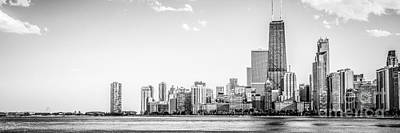 North Chicago Skyline Panorama In Black And White Art Print