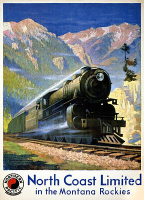 Bozeman Painting - North Coast Limited Vintage Travel Poster Restored by Carsten Reisinger