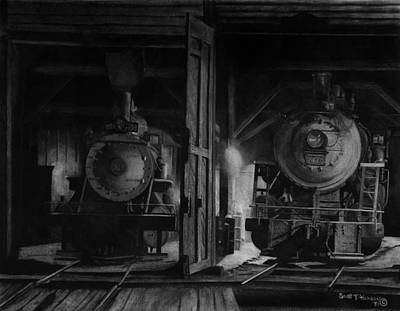 Maine Mountains Drawing - North Conway Roundhouse At Night by Scott T Hanson
