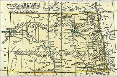 Photograph - North Dakota Antique Map 1891 by Phil Cardamone