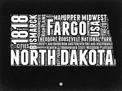 North Dakota Wall Art - Digital Art - North Dakota Black And White Map by Naxart Studio