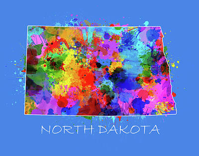 North Dakota Wall Art - Digital Art - North Dakota Color Splatter 3 by Bekim Art