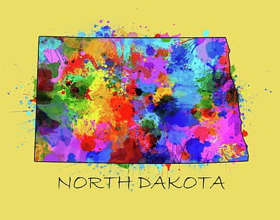 North Dakota Wall Art - Digital Art - North Dakota Color Splatter 4 by Bekim Art