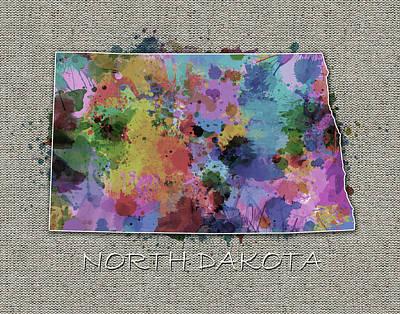 North Dakota Wall Art - Digital Art - North Dakota Color Splatter 5 by Bekim Art